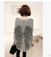 2014 autumn fashion wings pattern irregular batwing sleeve loose large-panel sweater
