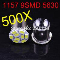2014 new style 500 pcs 1157 P21W 5630 LED 9 SMD R10W turn signal steering lamp reversing back up light white blue