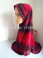 New Ice Silk Style Hot Drill Gardient Muslim Hijabs Fashion Islamic Hijab Islamic Scarf  Hijabs Free Shipping  Assorted Colors