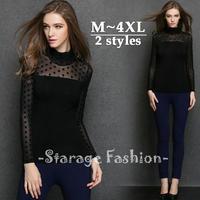 L-4XL Turtleneck Polka Dots Lace Shirt Long Sleeve Patchwork Cotton T-shirts Women Tops Fashion 2014 Fall Big Size Clothes 3209