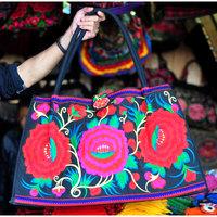 Original New National trend Embroidery embroidered bag peony shoulder bag women's large handbag travel shopping bag