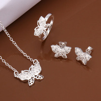 New Wholesale women's 925 Sterling Silver jewelry set butterfly necklace+ring+earrings jewelry best gift Free Shipping S487