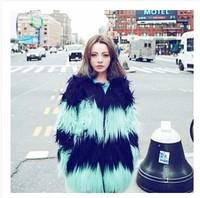 2014Fur coat colorant match gradient long medium-long fur coat