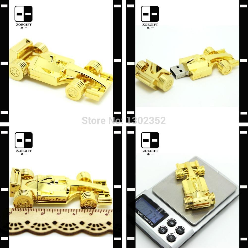 Gold Racing Car Style USB Flash Drive 64GB Pendrive Memory Sticks, Novelty Gadgets 100% Real Capacity(China (Mainland))