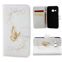 free shipping 4 Colors Butterfly Pattern Wallet Leather with Card Cash Slot Stand Holder Case Cover For HTC M8 mini One mini 2