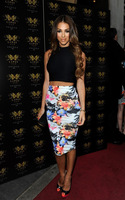 Black and floral two piece 2014 newest hl bandage dress celebrity dresses sexy women party dress