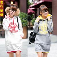 Fast shipping NEW hoodie long top pullover, winter coat,garment coat,women's coat hoodie Cute Green/gray/white Words Winter