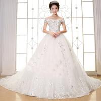 ON Sale Promotion Diamond ornaments 2014 sweet wedding dress slit neckline earth auger slit neckline wedding dress lace bigtrain