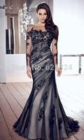 Hot selling High Quality Mermaid Appliques Long Sleeve Low Back Black Tulle Elegant Long Evening Dresses Formal Dresses 2014