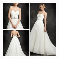 Flirty A-line Floor length Court train Corset Back Sweetheart Pleated Bodice Beading Waist Line Tulle Wedding Dress