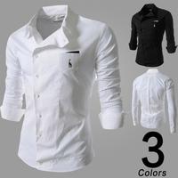 High Quality! Casual Slim Men Shirts 2014 New Men Classic Deerlet Embroidery Shirt Mens Fashion Long Sleeve Shirts Free Shipping
