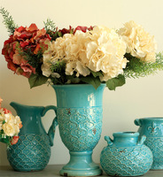 NEW! Home Decorative Display Flowers Vintage 5pcs Fake Silk Large Hydrangea Artificial Flowers for Holiday/Party Decor