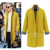 Free Shipping! Fashion European Style 2014 Women Woolen Coat of Long Section,Fashion Thin Wool Winter Outerwear for Women