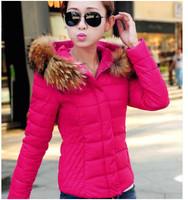 2014 Autumn Winter  Women Coat Jacket Luxury Large Fur Collar With Hood Cotton Down Coat Female Short Thin Outerwear  thicken