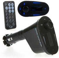 Multifunctional Car Kit Wireless FM Transmitter Modulator MP3 Player USB SD Blue + USB 2.0 Port Remote Control