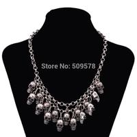 Free shipping Alloy skull multi-level Handmade Necklace