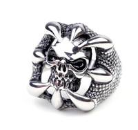 Vintage Black Titanium Ring Skull Man Stainless Steel Rings Jewelry   jz215