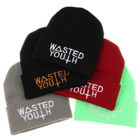 2014 New Beanie Wasted Youth Hats Diamond Touca Winter Sport Skullies Roll-up Hem Caps Wool Knitted Hat Men Women Pompon Beanie