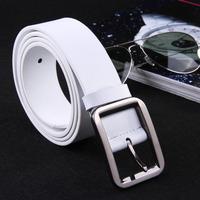 Free shipping unisex leather belt fashion white belts