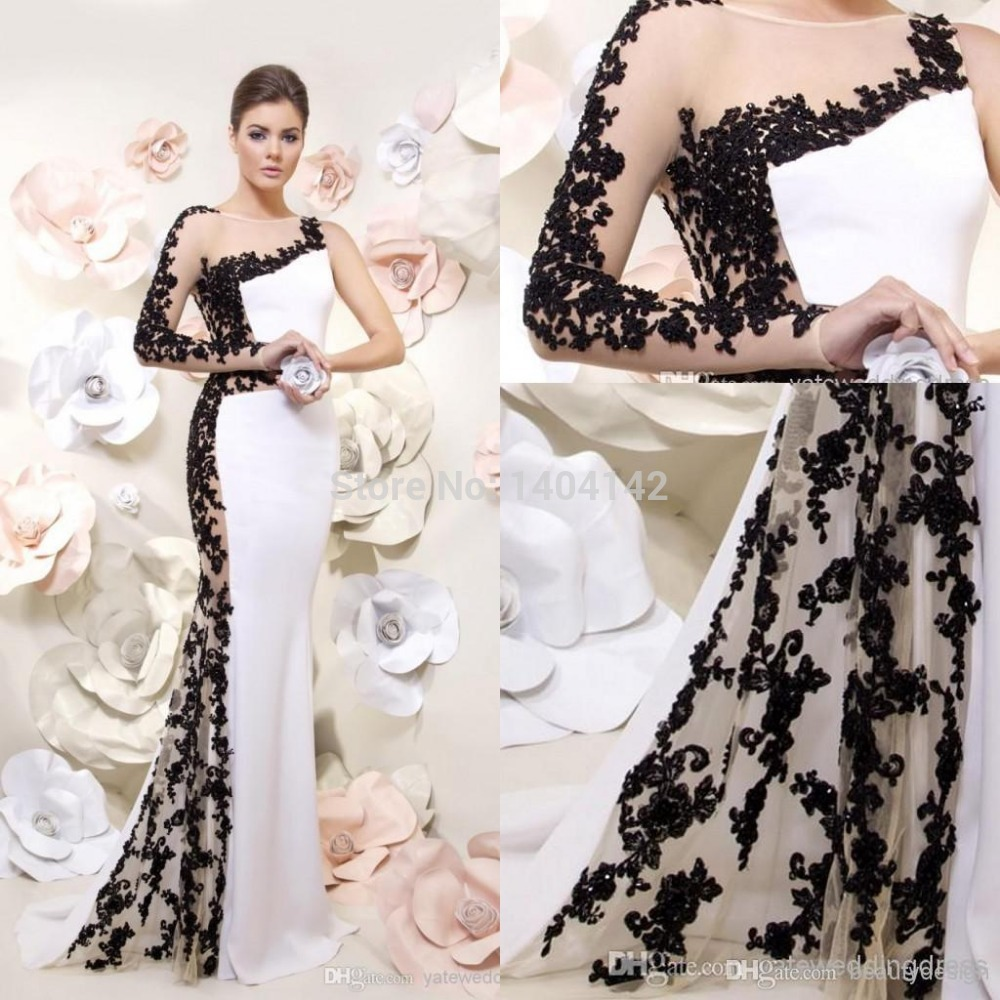 2014 modern mermaid black applique lace one long sleeve backless floor length party gowns white. Black Bedroom Furniture Sets. Home Design Ideas
