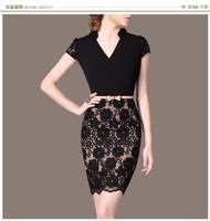 Quality Work Wear Elegant Office Lace Dress Brand Chiffon Desigual Plus Size Summer Dress Vestidos Bandage Women Casual Dress
