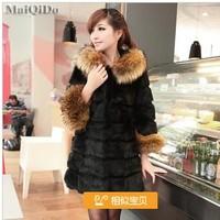 20134winter thickening fur coat medium-long female stripe raccoon fur wool overcoat female