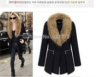 2014 new arrival women medium-long plus size woolen fur collar overcoat woolen outerwear slim medium-long