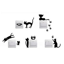 1 Satz 5 stück abnehmbaren cute schönen katze schalter wandtattoo vinyl-aufkleber wohnkultur(China (Mainland))