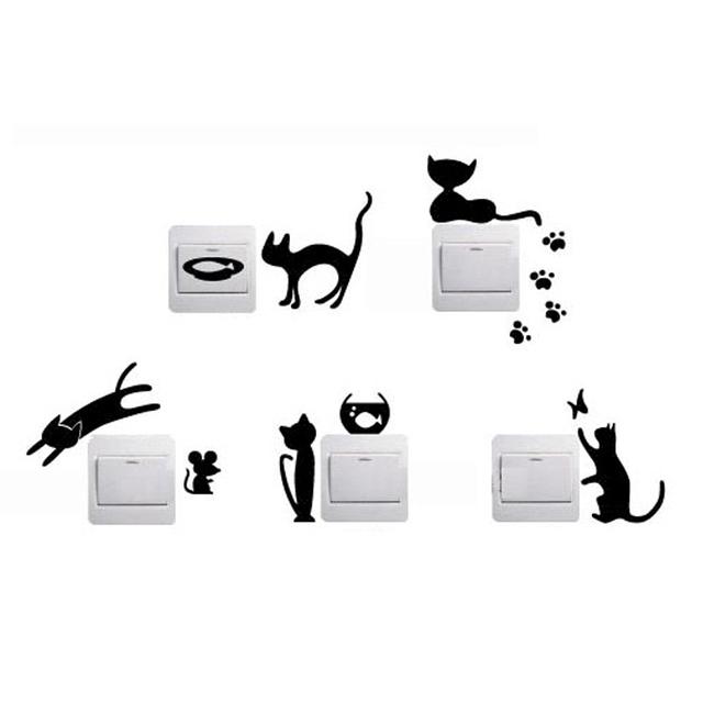 Cortinas De Baño Graciosas:Cat Wall Decals Switch Light