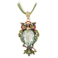 Retro Good Quality Green Big Crystal Stone Woman Costume Owl Pendant Necklace Jewelry