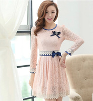 2015 New In Fashion Autumn Slim Elegant Lace With a Corsage Female Long-sleeve Dress