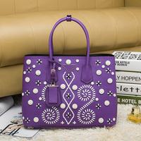 Embroidery genuine leather large shopping tote brand logo original quality shoulder bag w. flap pocket women vintage handbag