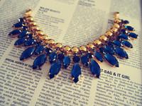 Ocean sapphire blue glass stones metal diamond chain collar drill chain hardware diy handmade wedding material