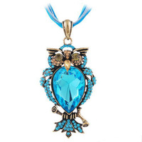 Charms Blue Shiny Big Water Drop Crystal Stone Inside Owl Pendant Necklace