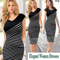 New Fashion 2014 Elegant Celebrite V-neck Short Sleeve Striped Partchwork Pencil Party Cocktail Bodycon Women Dresses