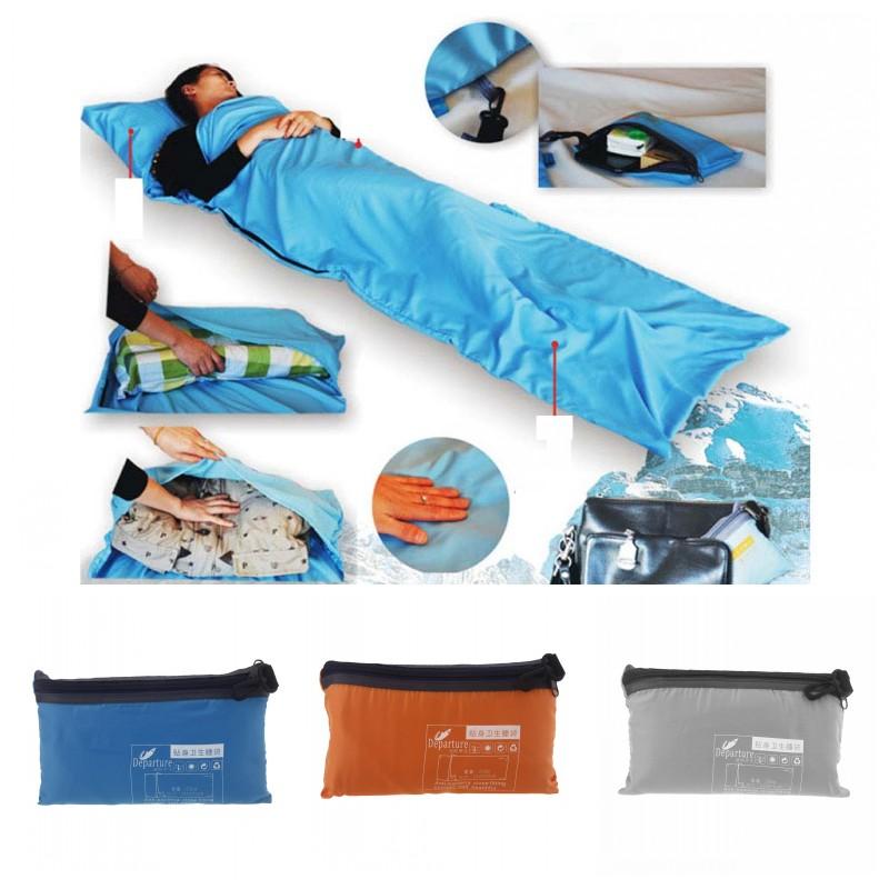 Ultra-light Outdoor Camping Portable Single Sleeping Bag Polyester Pongee Healthy Liner Travel Sleeping Bag Blue/Orange/Grey(China (Mainland))