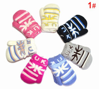 Wholesale plus velvet baby gloves winter union flag children glove 5pairs mix color warm-keeping UK letters child gloves A00036