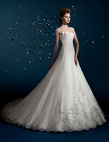 2014 New Style Beautiful High Quality Elegant Organza Wedding Dress with Embroidery and Beads Bridal Gown