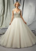 Organza Sleeveless Wedding Dress with Beadings in Custom Size : 4 6 8 10 12 14 16 18 20 +++++