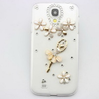 3D Bling Rhinestone Ballet Dancer Mobile phone Case Cover for iPhone 4/5S 5C Samsung S3/S4/S5/Note2/Note3/S3 mini/S4 mini Case