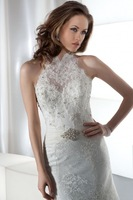 New High Quality A-Line Lace Beads Crystal Wedding Dress Custom Halter-Neck Bridal Gown