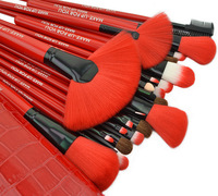 New product!24 pcs red nylon makeup brush sets with imitation alligator skin makeup brush package,Free shipping