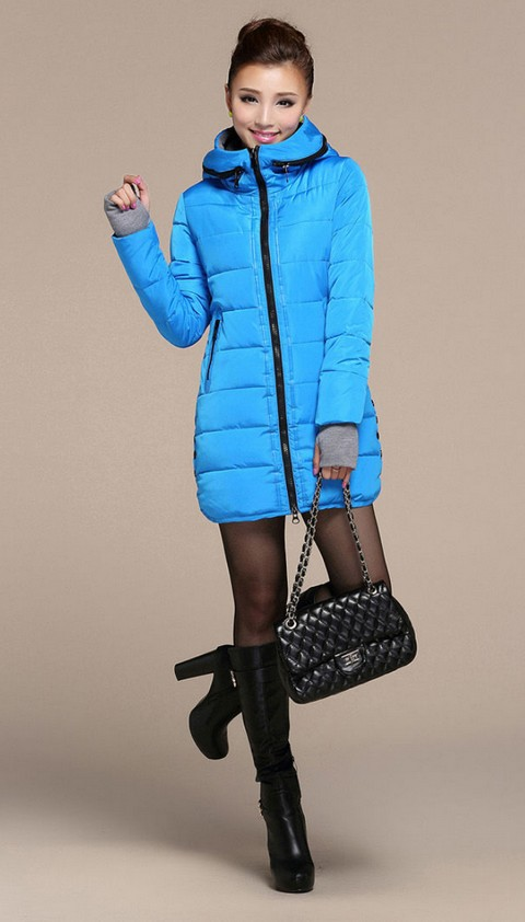 A067 The new 2014 winter cotton-padded clothes with long feather in the cap fashion gloves cuff thickening cotton-padded jacket(China (Mainland))