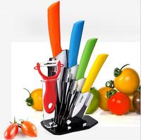 Free shipping Ceramic knife, 6pcs Gift Set 3 inch+4 inch+5 inch+6 inch+peeler +Knife holder Ceramic Knife Sets Kitchen Knife!