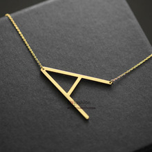 Fashion letter pendant necklace initial necklace 24K gold chain alphabet choker necklace women stainless steel jewelry wholesale(China (Mainland))