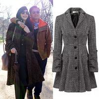 2014 New women overcoat elegant fashion vintage woolen coat winter women coats lady Wool & Blends free shipping