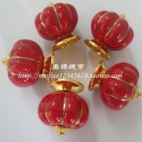 Free Shipping 8pcs 40mm  Ceramic Pumpkin Door Handle Pull Knobs Cabinet  Door Cupboard Drawer Locker Gold Zine Alloy Base -Red