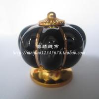 5pcs Black  Ceramic Handle Pull Knobs Cabinet Pumpkin Door Cupboard Drawer Locker