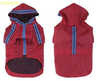 Dog raincoat double layer with reflection tape nylon raincoat for big size dog red