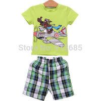 2-7Y Kids Baby Boys 2Pcs Clothes Set Short Blouse T-Shirt + Pants Outfit